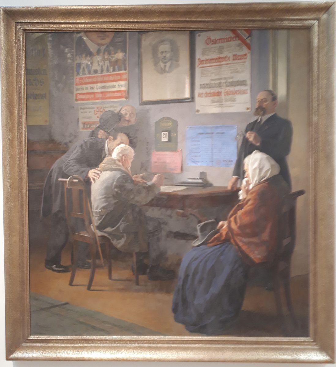写真・図版 : 「小作農の老夫婦から全財産を奪う契約書にサインさせようとするユダヤ人たち」を描いた油絵=ゲルマン国立博物館