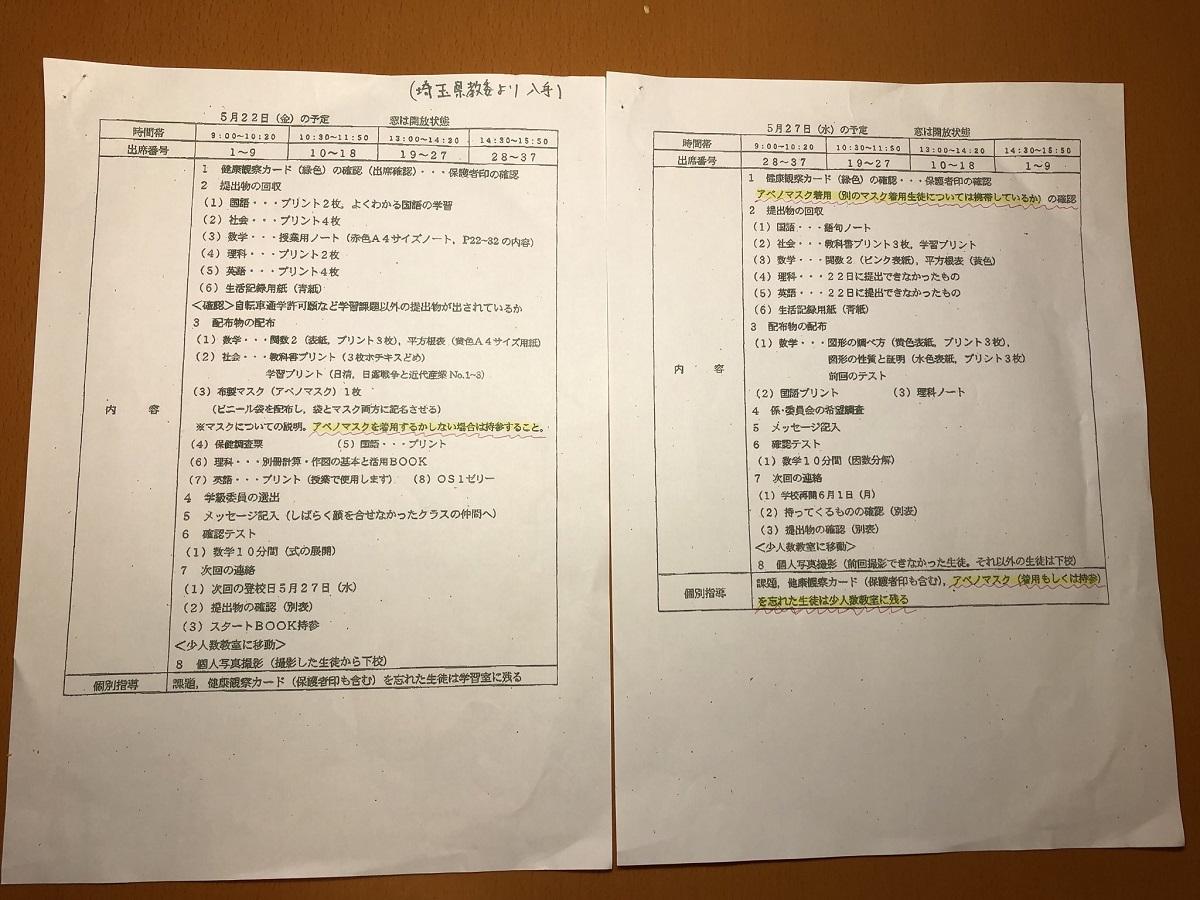 写真・図版 : 埼玉県のある中学校で配布されたプリント