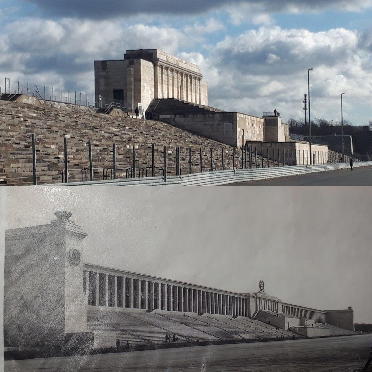 写真・図版 : ナチス党大会でヒトラーが演説したグランド・スタンドの現在(上)と1930年代(下)の様子。下はフィーデラーさんの資料より