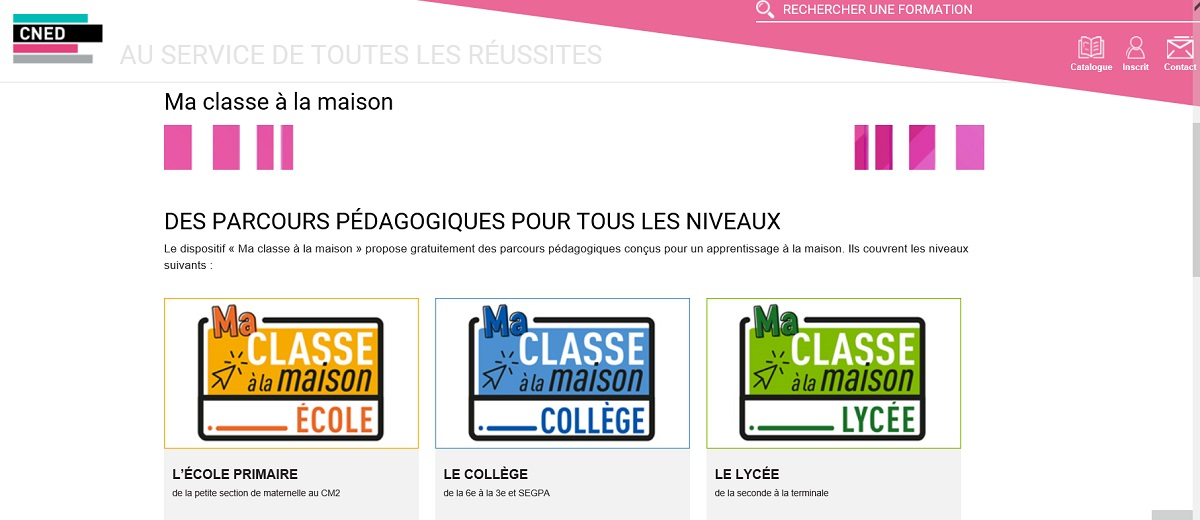 写真・図版 : フランスの公式オンライン教育「おうち授業」のポータルサイト。小中学校別に並んだ欄をクリックし、学校からもらったID、パスワードを入れてアクセスする