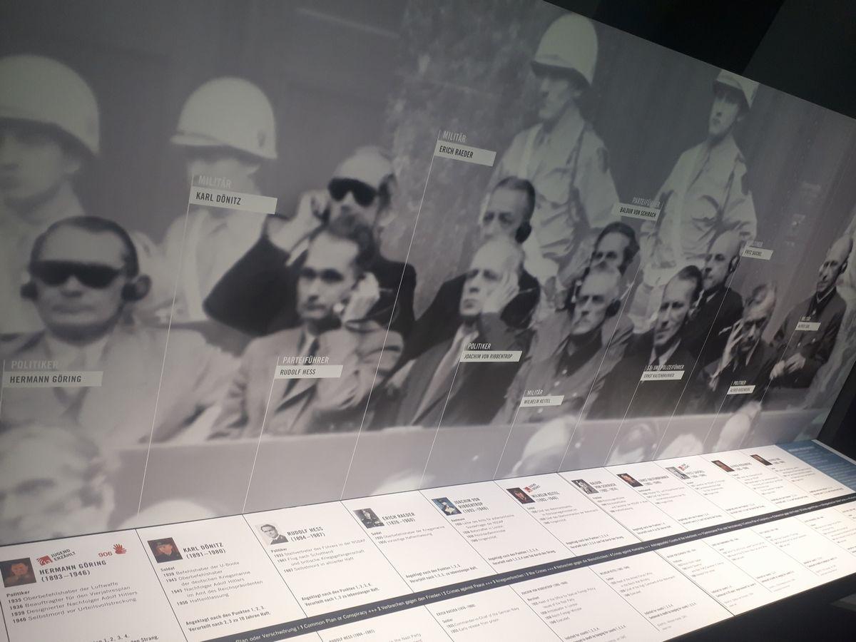 写真・図版 : ドイツのニュルンベルク国際軍事法廷記念館で、被告人のナチス幹部たちを紹介する展示