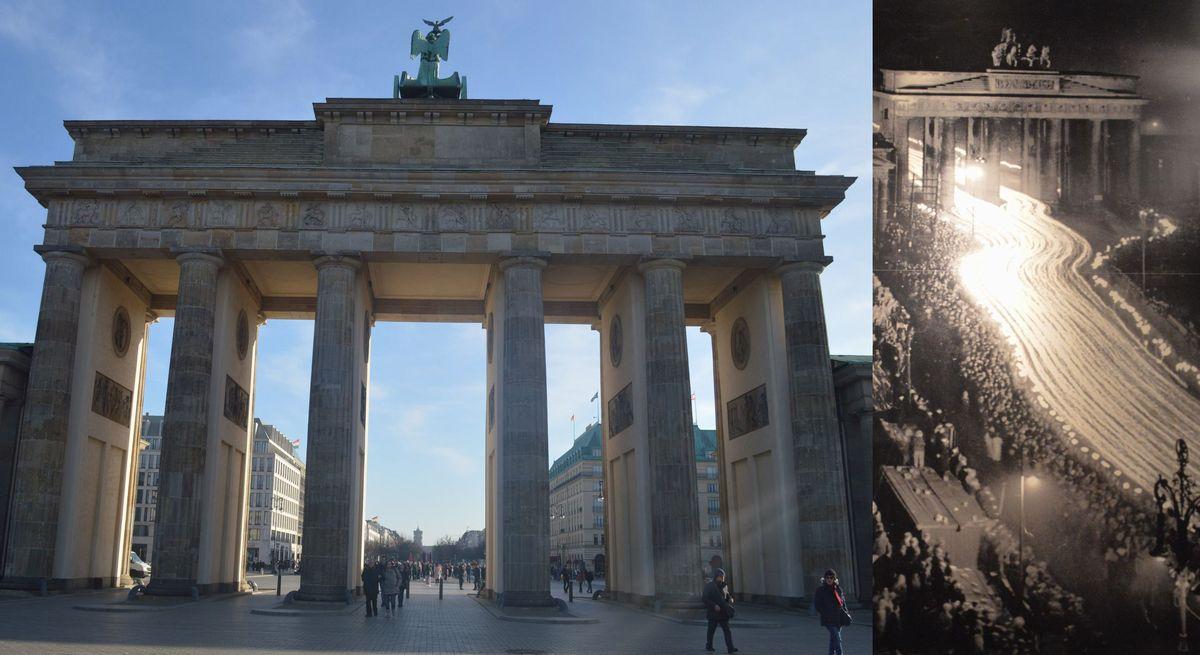 写真・図版 : ベルリンのブランデンブルク門。左は2月、藤田撮影。右は1936年にナチス政権発足3年を祝うトーチ行進の様子