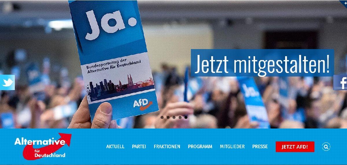 写真・図版 : 新興右翼政党AFD(ドイツのための選択肢)のサイトより