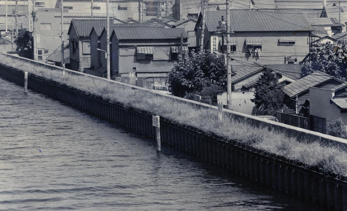 写真・図版 : 江東区のゼロメートル地帯では平屋住宅の屋根は、運河の堤防より低かった=1973年8月、東京都江東区北砂