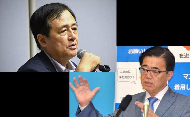 写真・図版 : 保坂展人世田谷区長(左)と大村秀章愛知県知事