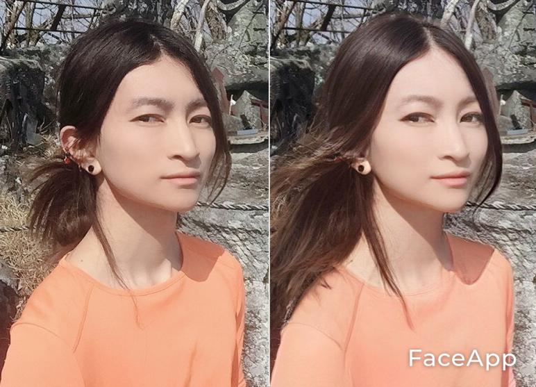 写真・図版 : 【4-1】(左が筆者。右が「FaceApp」で加工した写真。【4-2】以下も同様)