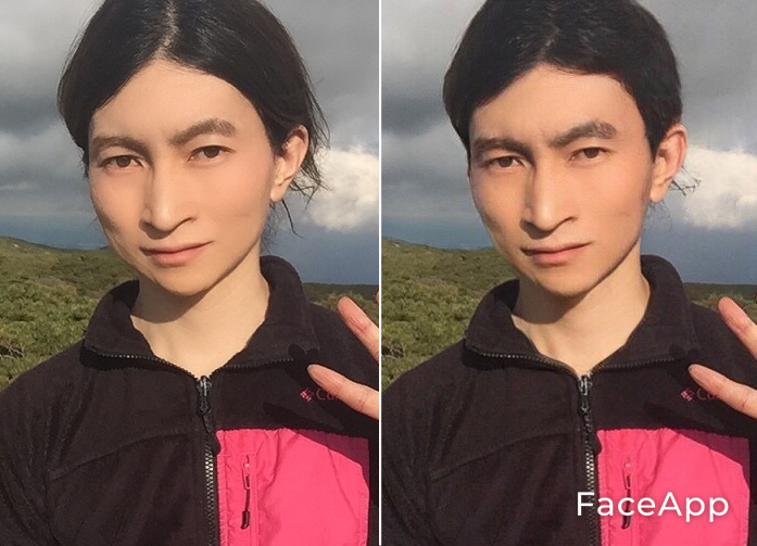 写真・図版 : 【5-1】(左が筆者。右が「FaceApp」で加工した写真。【5-2】も同様)