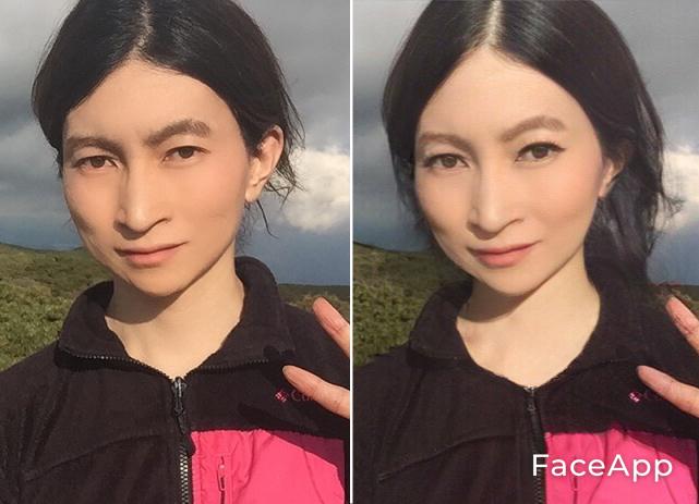 写真・図版 : 【1-1】(左が筆者。右が「FaceApp」で加工した写真。【1-2】も同様)