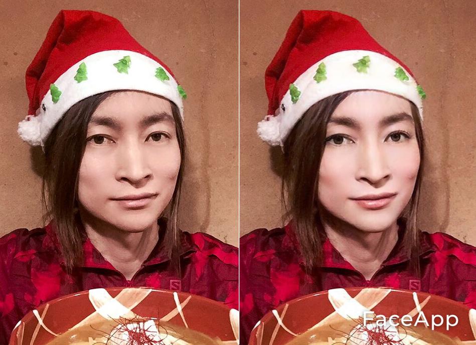写真・図版 : 【2-1】(左が筆者。右が「FaceApp」で加工した写真。【2-2】も同様)