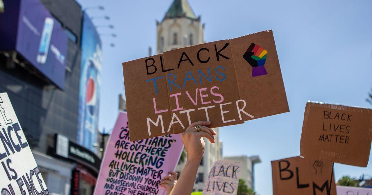 写真・図版 : Black Trans Lives Matterと記したボードを掲げる抗議の参加者=2020年6月14日、米ハリウッド GrandAve/Shutterstock.com