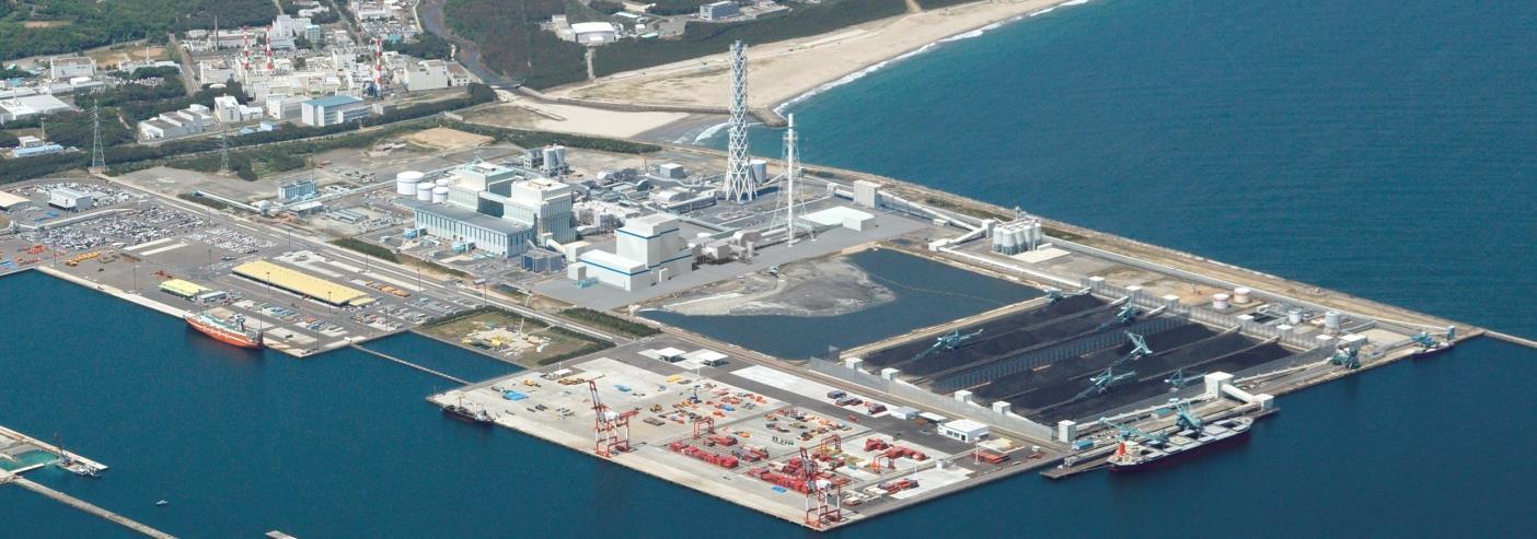 写真・図版 : 建設中の一つ、常陸那珂共同火力発電所1号機の完成予想図=茨城県、2021年完成予定