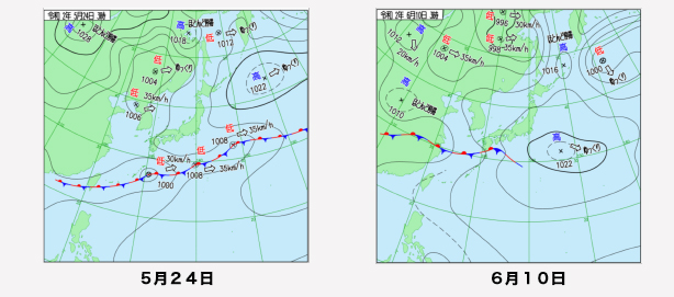 写真・図版 : 5月24日と6月10日の東アジアの天気図(気象庁のサイトから)