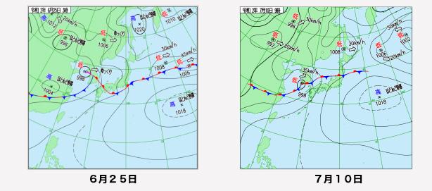 写真・図版 : 6月25日と7月10日の東アジアの天気図(気象庁のサイトから)