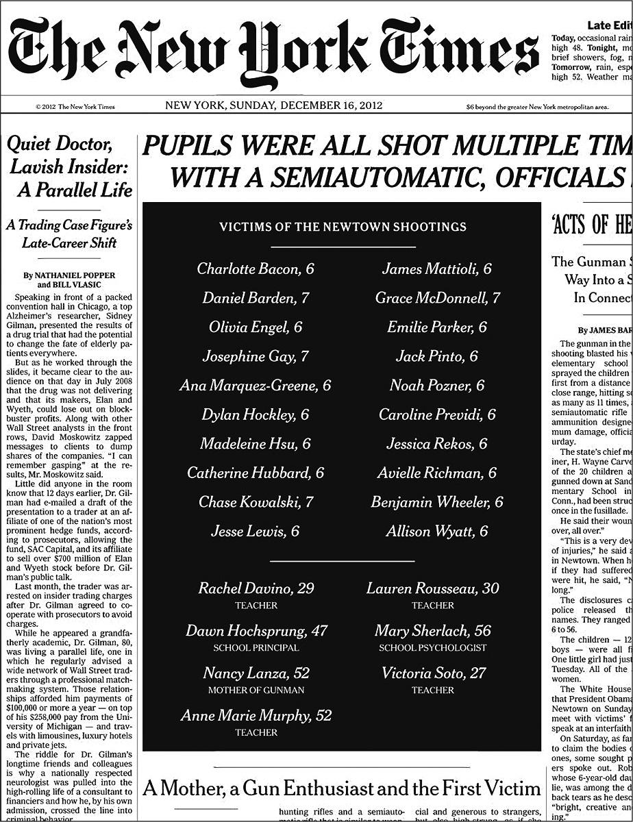 写真・図版 : 銃の犠牲になった子どもたちや教職員の姓名、年齢が並ぶニューヨーク・タイムズの2012年12月16日付1面