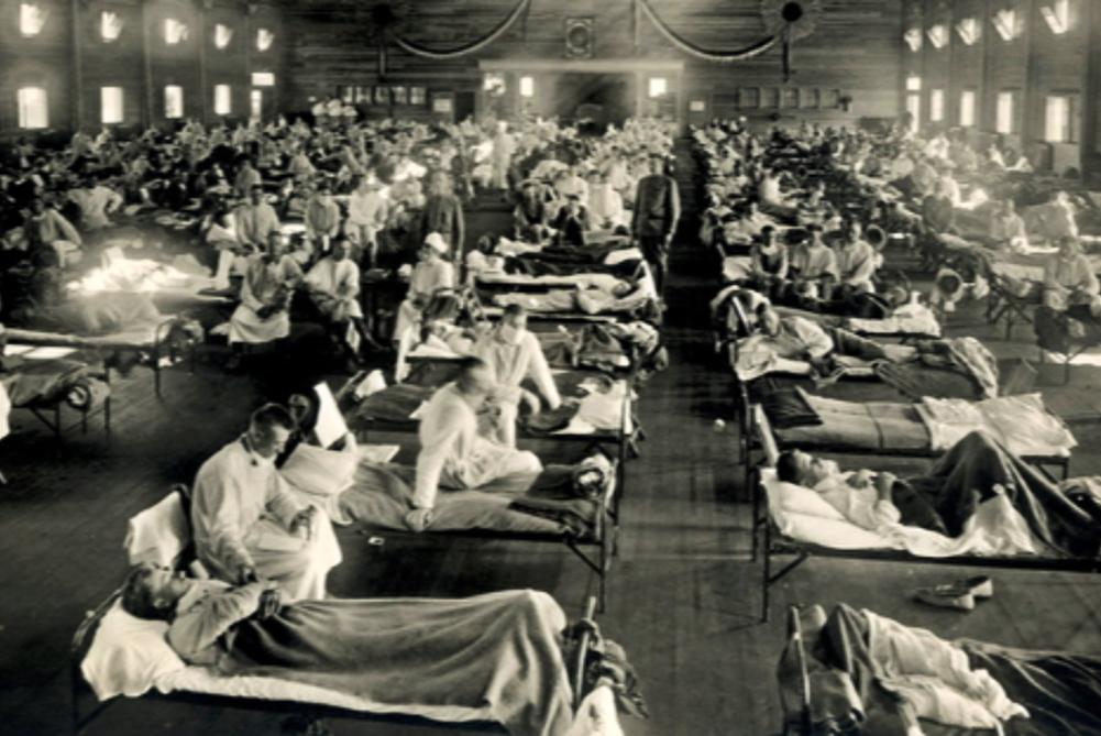 写真・図版 : スペイン風邪の患者を収容する米カンザス州の軍施設=1918年ごろ、National Museum of Health and Medicine