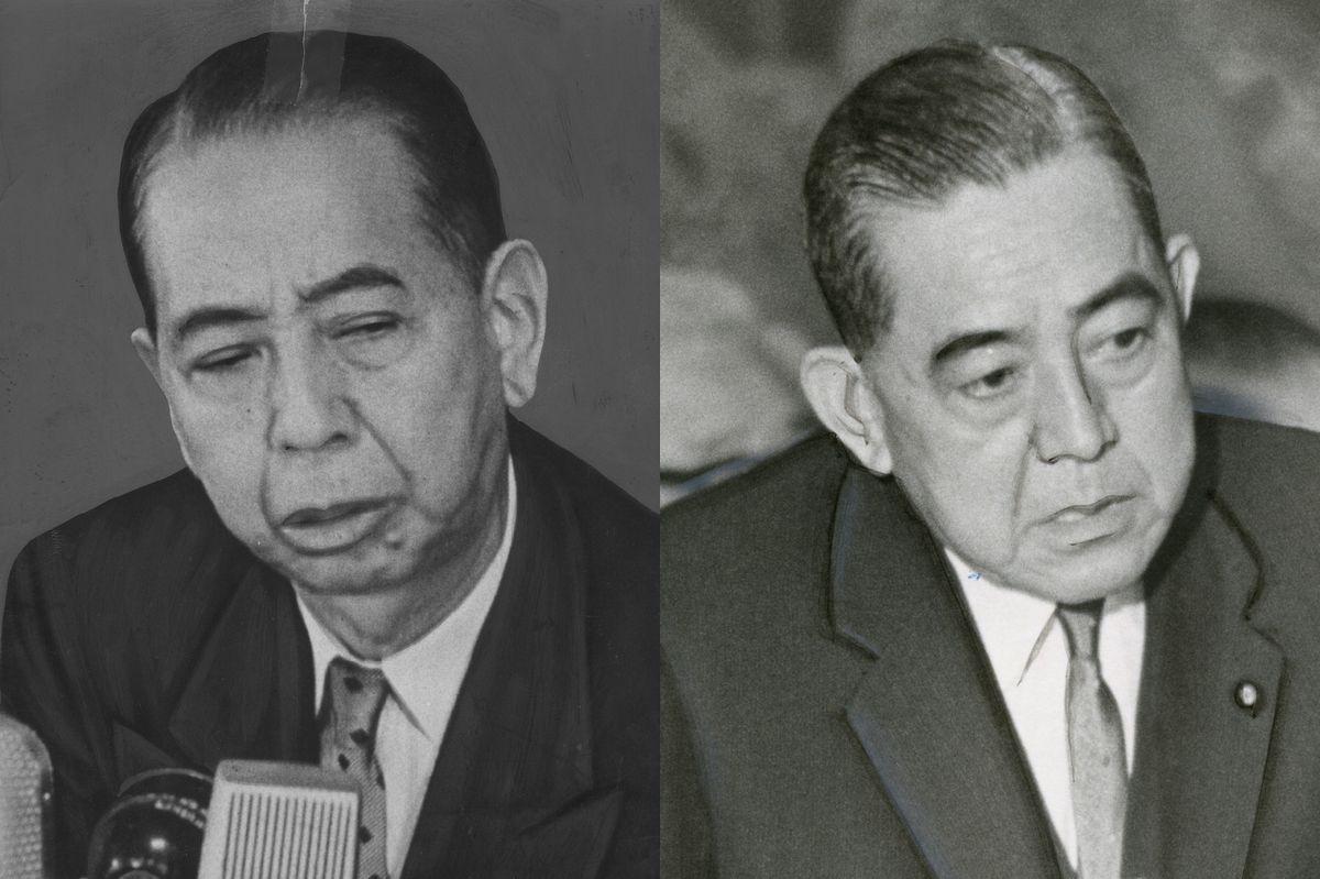 写真・図版 : 岸信介首相(1958年)と弟の佐藤栄作首相(1965年)