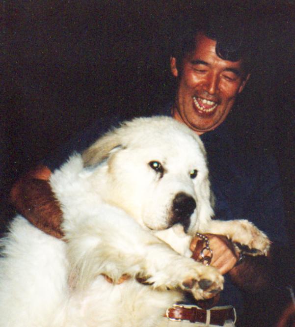 写真・図版 : 自宅で愛犬と=1987年、藤田一郎教授提供