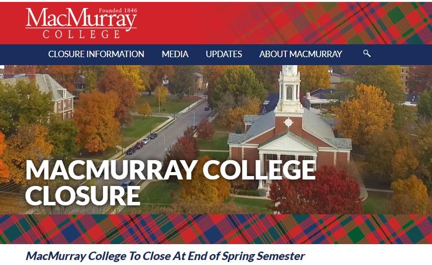 写真・図版 : 閉校を伝えるマクマレー大学のホームページ