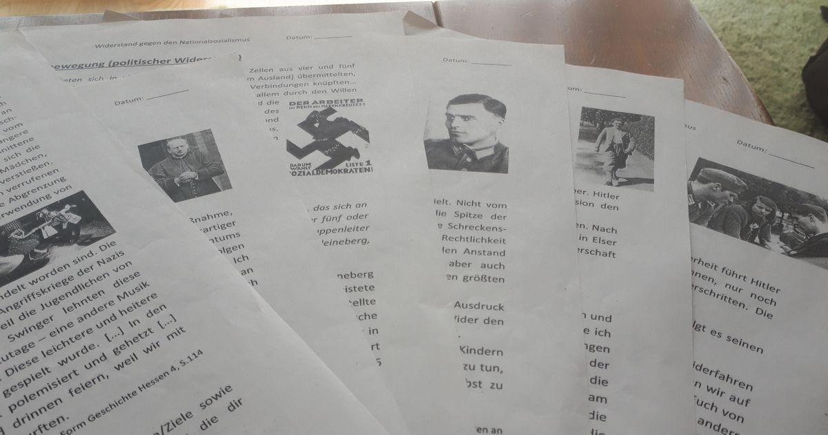 写真・図版 : ドイツで参観した歴史の授業で配られた、ナチス政権に抵抗した6つの実例を説明する資料=藤田撮影