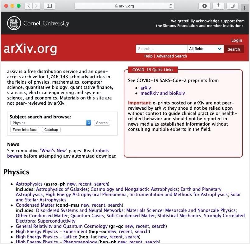 写真・図版 : 代表的なプレプリントサーバー「arXiv」