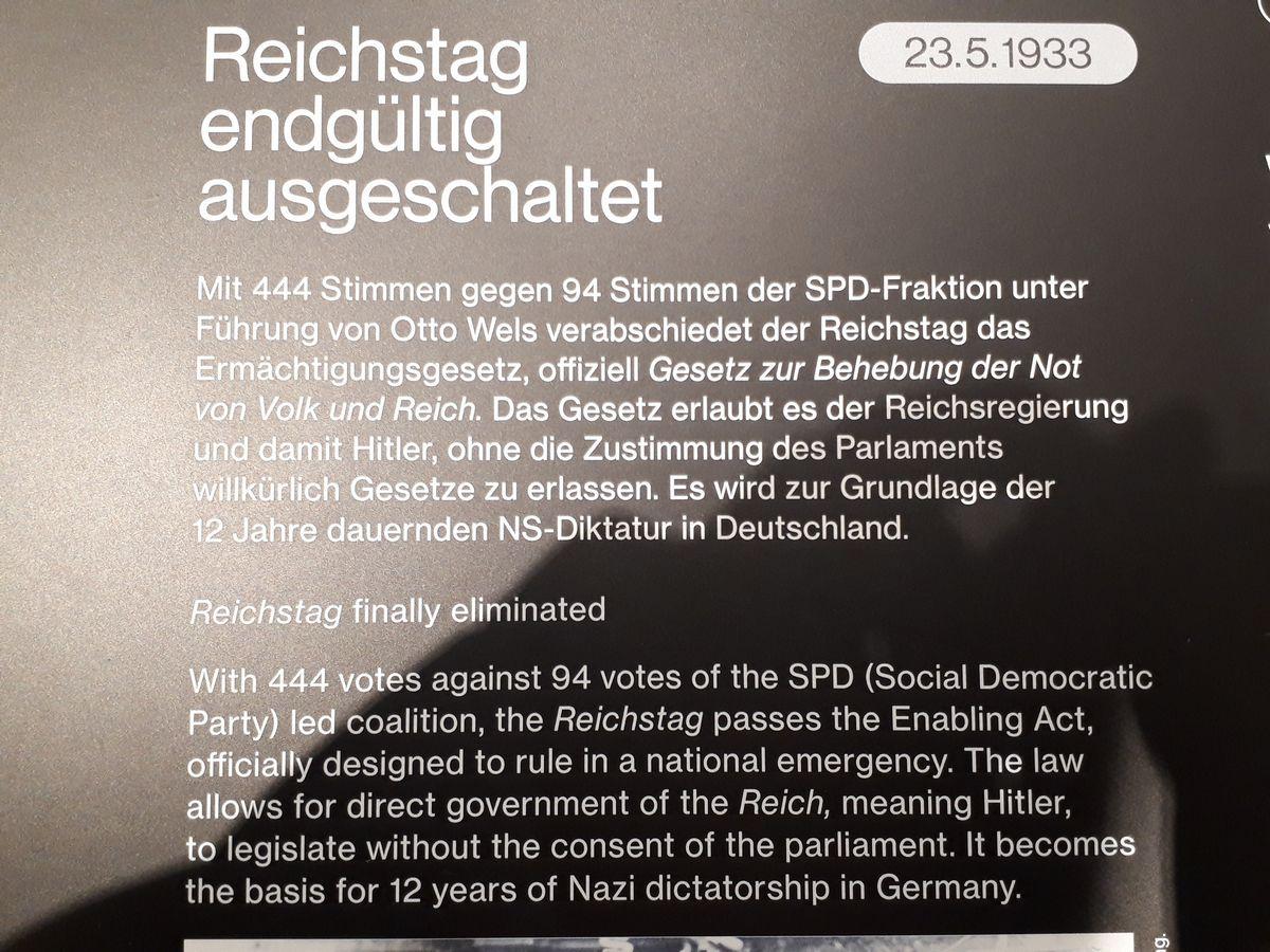 写真・図版 : ナチスが独裁を実現した「全権委任法」の成立を説明する展示