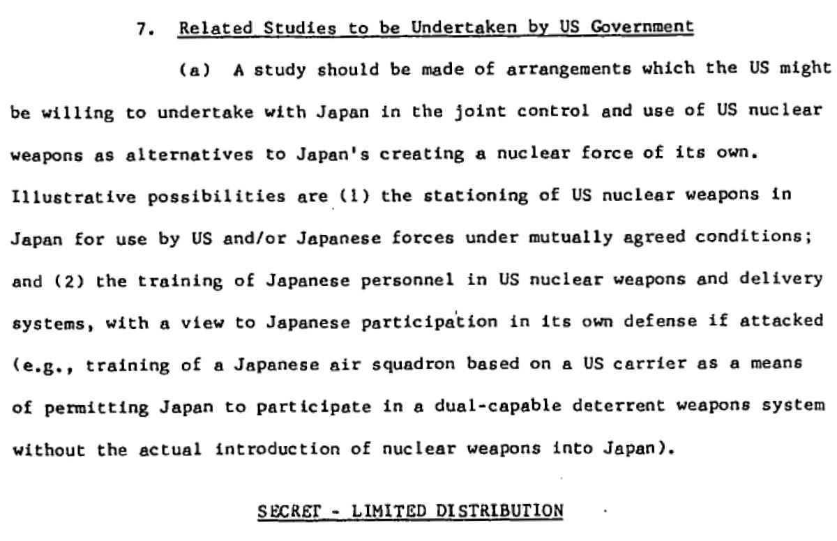 写真・図版 : 米ジョンソン政権の「核不拡散委員会」が1965年6月にまとめた報告書で、日本の核武装を防ぐため「核共有」の研究を提言した部分=近畿大の吉田准教授提供