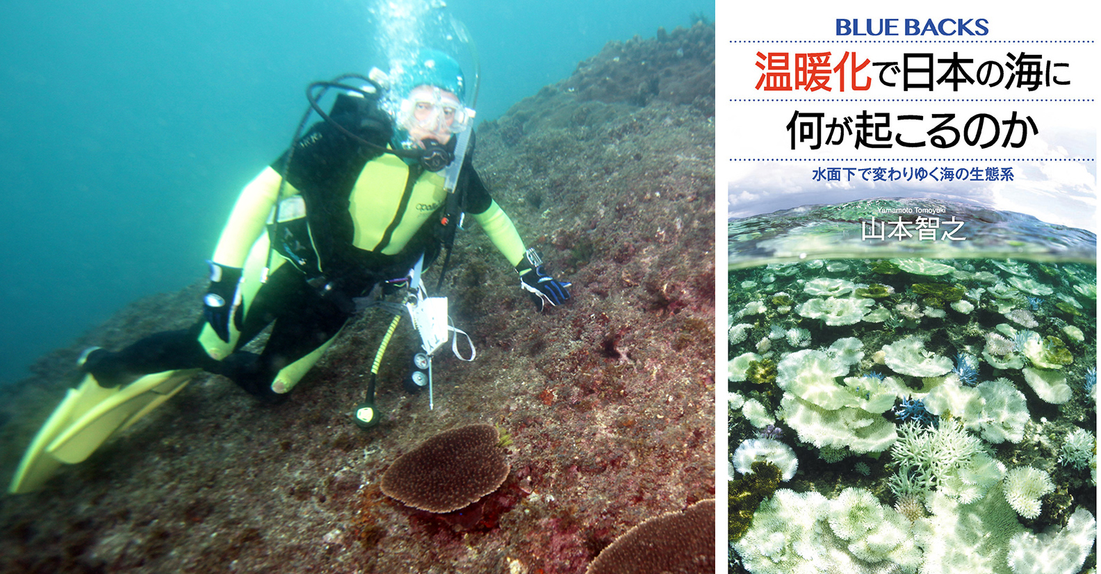 写真・図版 : 静岡県・田子沖で取材中の筆者と、本日発売の新刊