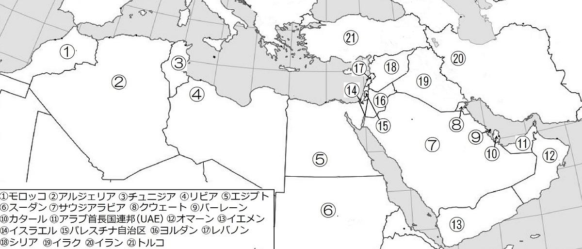 中東の地図.