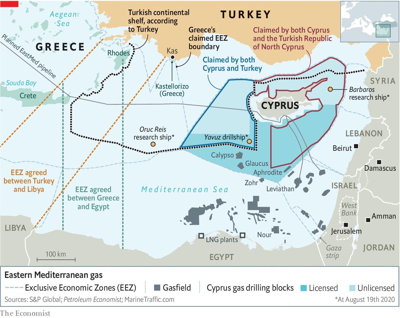 写真・図版 : 図 東地中海の境界区分とガス田