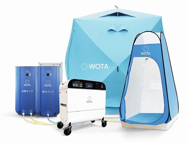 """写真・図版 : 被災地向けに開発した""""WOTA BOX""""とシャワーセット=同社HPより"""