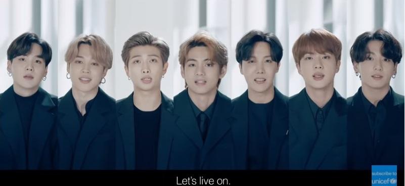 写真・図版 : 「共に生きていこう」(Let's live on.)と国連総会のスピーチで語ったBTS=動画「BTS return to the United Nations | UNICEF」より