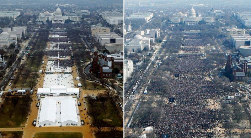 写真・図版 : ワシントンモニュメントから見たトランプ大統領の就任式(左)と2009年のオバマ大統領の就任式