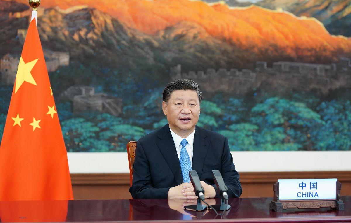 写真・図版 : 2020年9月22日、国連総会でビデオ映像による一般演説を行う中国の習近平国家主席=新華社