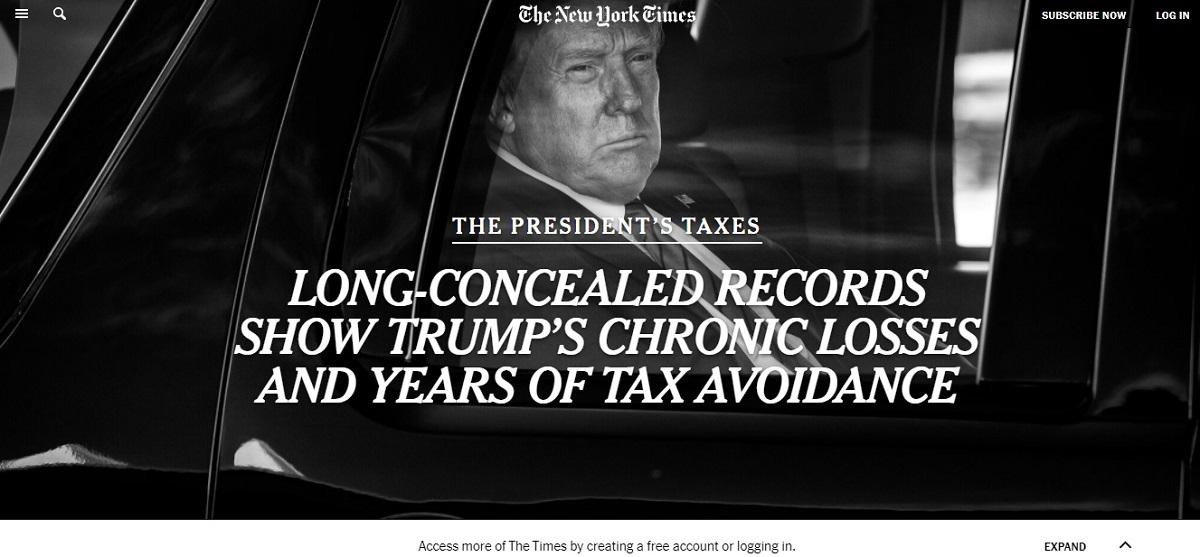 写真・図版 : トランプ大統領の所得税未払いなどについて報じたニューヨーク・タイムズのサイト