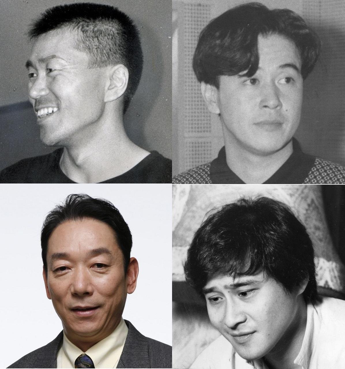 写真・図版 : 平田満(1988年撮影、左上)、風間杜夫(87年撮影、右上)、石丸謙二郎(2006年撮影、左下)、萩原流行(85年撮影、右下)