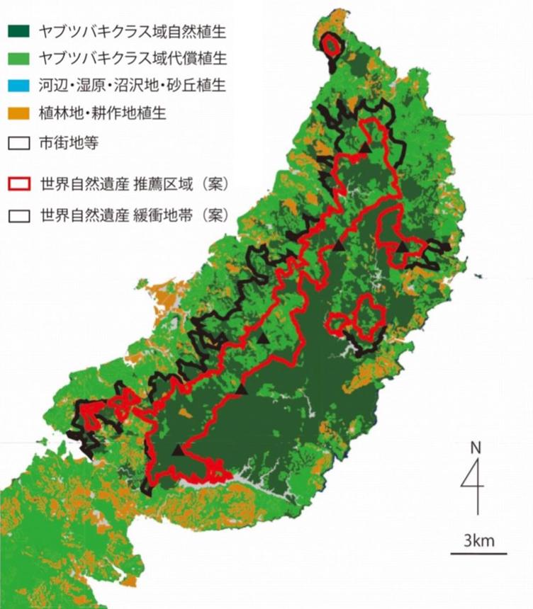 写真・図版 : 沖縄島北部の推薦区域(案)と緩衝地帯(案)=日本自然保護協会作成