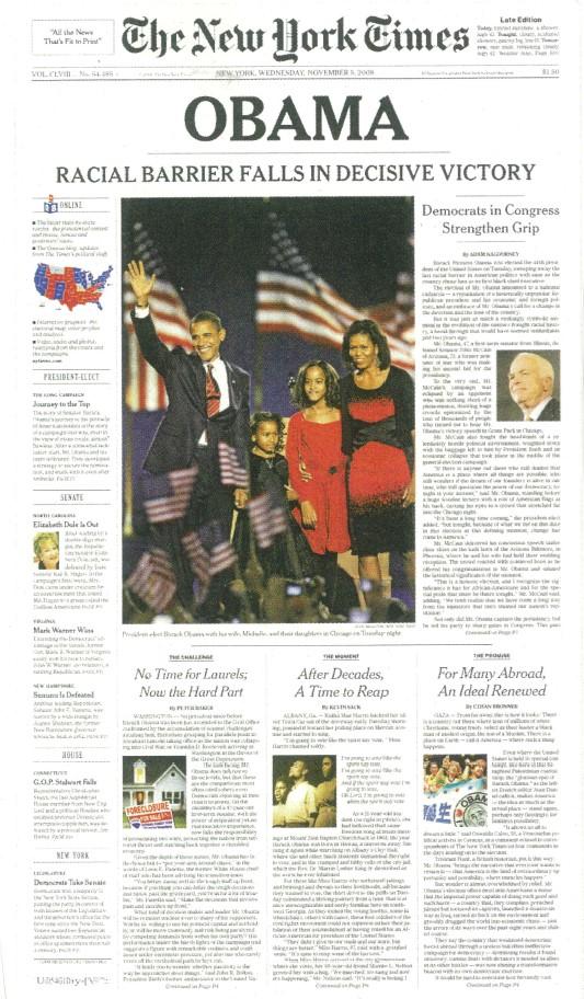 写真・図版 : 12年前のオバマ当選を伝えるニューヨーク・タイムズ紙。主見出しは、ただひとこと「オバマ」だった。2008年11月5日の紙面