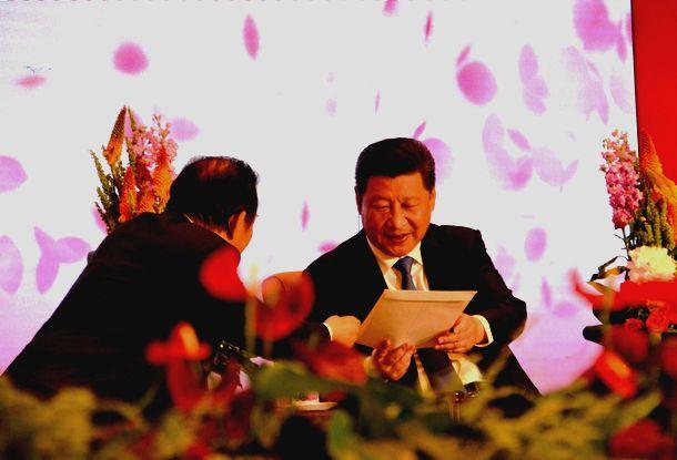 写真・図版 : 自民党の二階俊博総務会長(当時)が3千人の日本人訪中団を率いて北京を訪問。習近平国家主席に安倍晋三首相の親書を手渡した=2015年5月23日、北京・人民大会堂