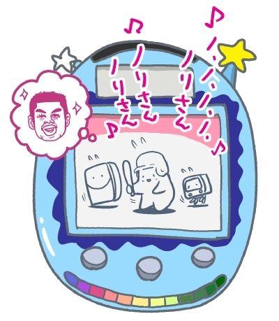 ベイスたん〈中央〉と友達のテレビさん〈右〉と冷ぞうこさん〈左〉。中村紀洋さんが大好き初期のベイスたん。