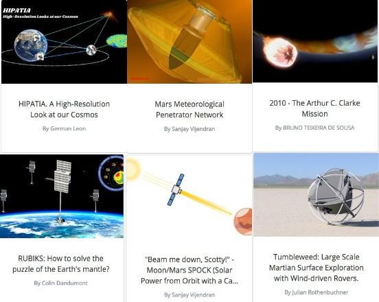 写真・図版 : 一次選考を通過したアイデアの例=ESAのホームページから