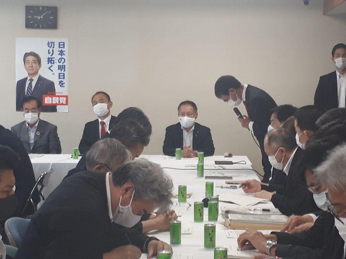 写真・図版 : 自民党の国防部会に説明のため出席した防衛官僚たち(手前)=2020年6月、東京・永田町。藤田撮影