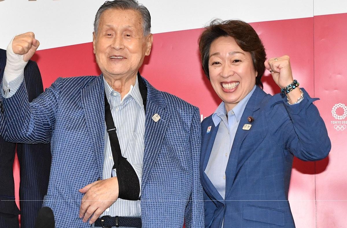 森喜朗会長、橋本聖子五輪相=2020年9月17日、東京都中央区、代表撮影 20200917