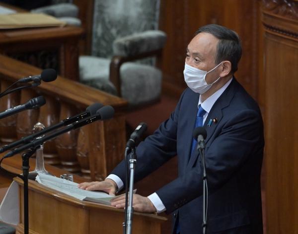 衆院本会議で施政方針演説をした菅義偉首相は「2050年カーボンニュートラル」にも触れた=2021年1月18日