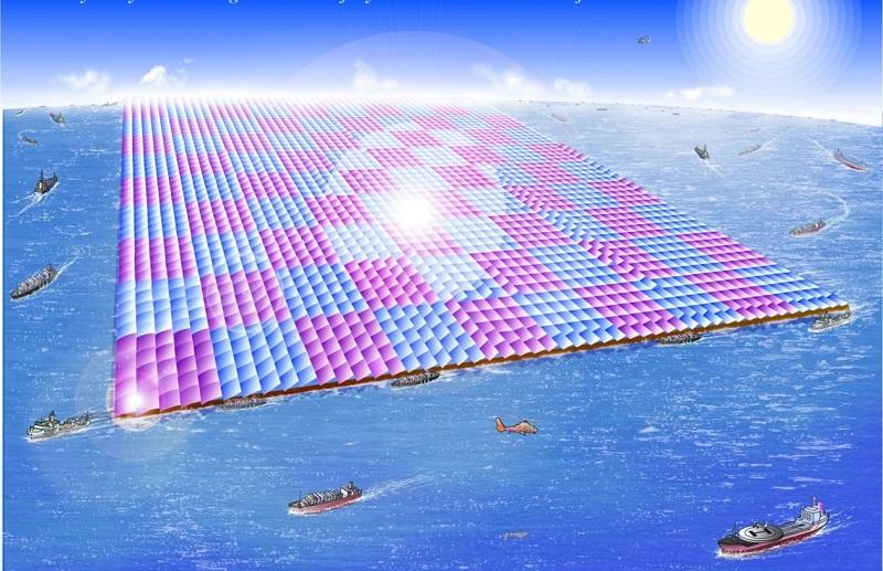 写真・図版 : 低緯度太平洋でのメガソーラー帆走筏(5km×5kmで100万kw原発なみの出力)のイメージ