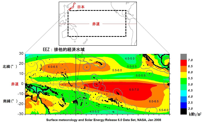 写真・図版 : 図-1:低緯度太平洋の1日の日射エネルギー(年平均)。南太平洋公海にエネルギー高密度帯がある。