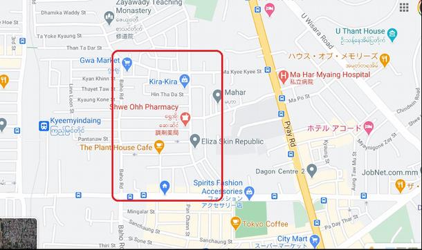 写真・図版 : 3月8日午後、ヤンゴン市サンチャウン地区、包囲されたエリア。google map より 筆者作成