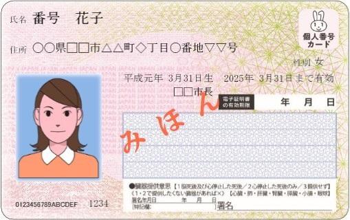 写真・図版 : マイナンバーカード見本