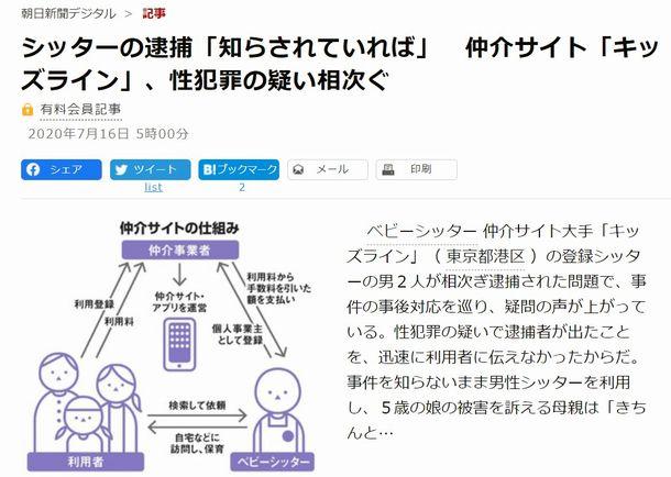 朝日新聞デジタル(2020年7月16日)から
