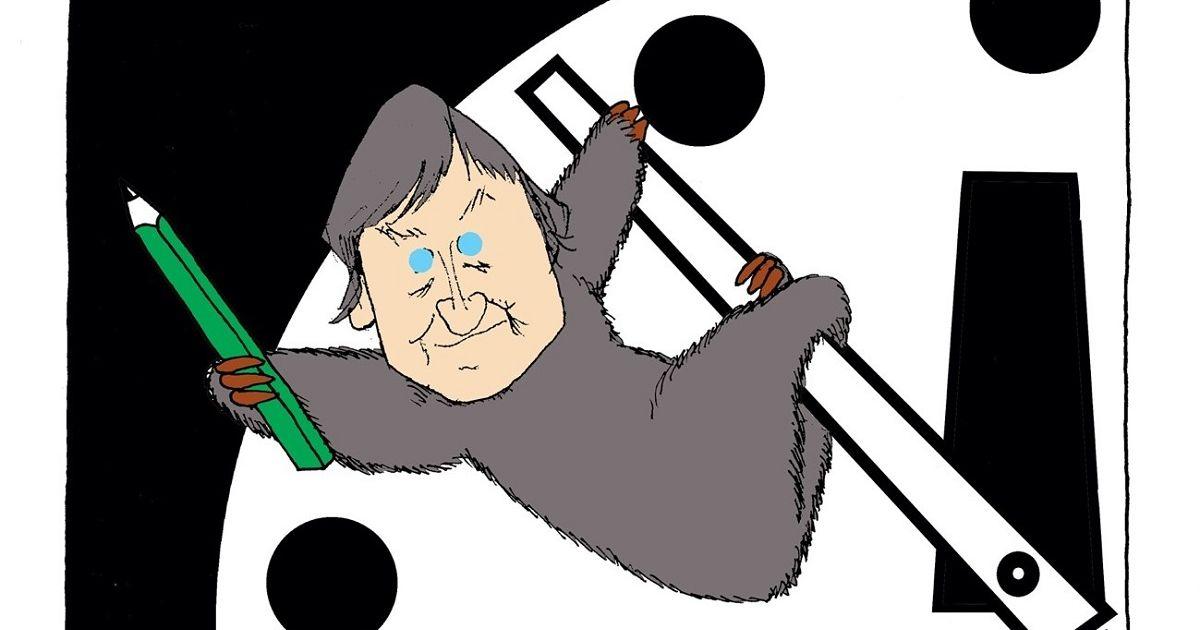 写真・図版 : 2021年4月、ルモンドの漫画家プランチュが、漫画家50周年を記念して出版した本に筆者が描いた漫画。終末時計の針にしがみついて、時計の進行を遅らせている。