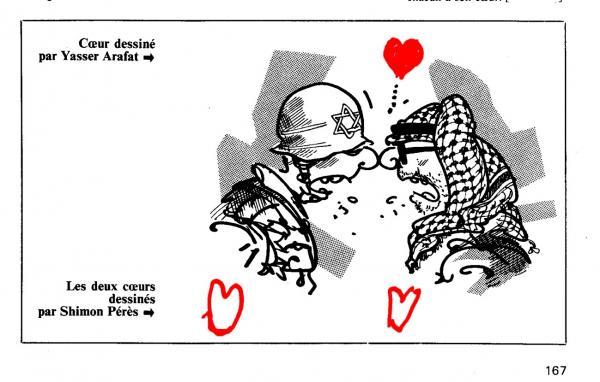 写真・図版 : プランチュが描いたアラファト議長とイスラエル兵。赤いハートはアラファトが、二つの白いハートはぺレスが加えた。